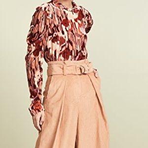 Ulla Johnson Mock Neck Velvet Floral Blouse 0